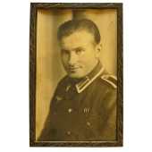 Framed studio portrait of the wehrmacht Unteroffizier in M 40 tunic